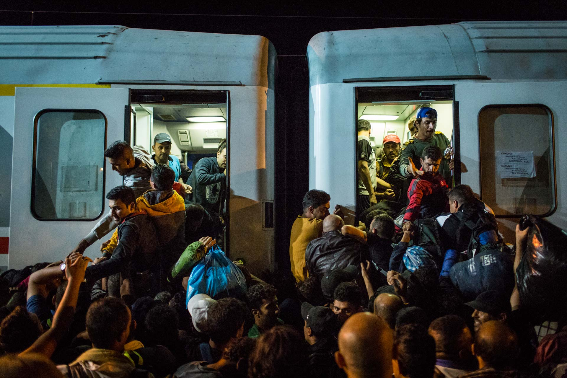 With the very limited capacity of the train transferring them to Slovenia, many refugees lost all compassion and empathy and started to fight for a place on the train.