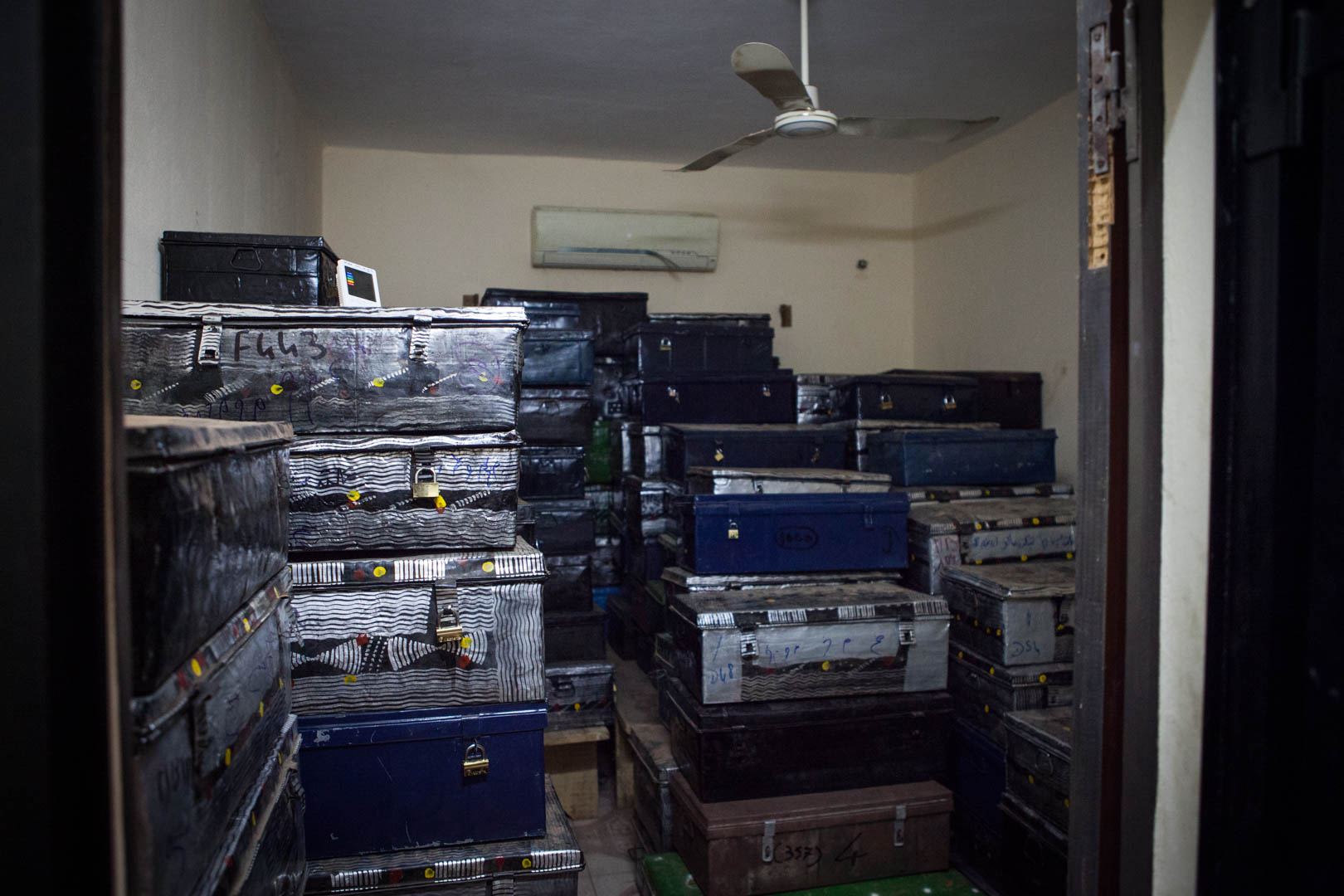 The Islamic manuscripts of Timbuktu in a storage facility in Malis capital, Bamako. When Ansar Dine and other Islamist rebels drove the Malian government out of major Malian cities in the desert, they had to be evacuated because the museums were concerned about their safety.