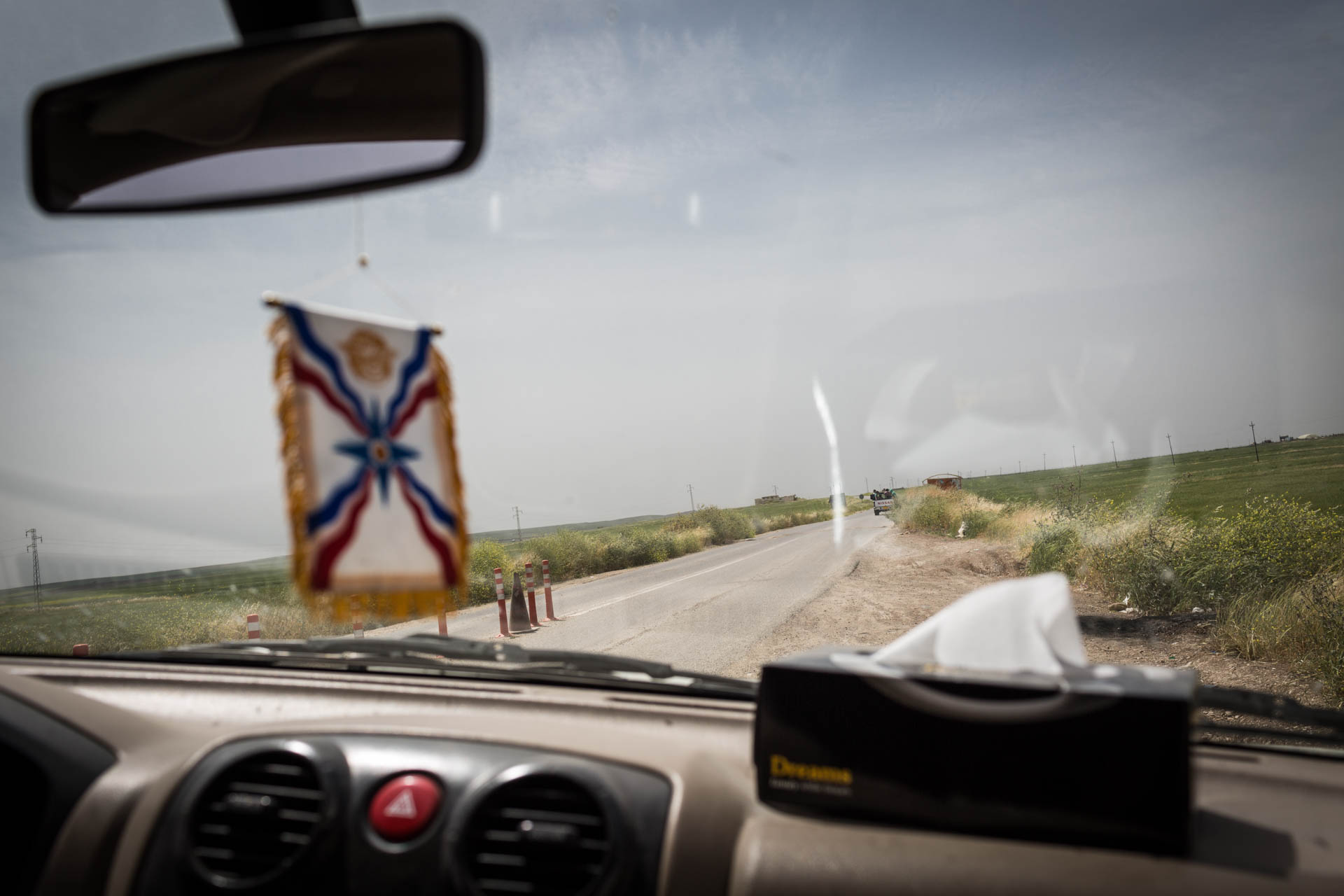 The road to the village Bakufa. The last checkpoint on this road is in control of the Peshmerga, and the Dwekh Nawsha calls them their allies.
