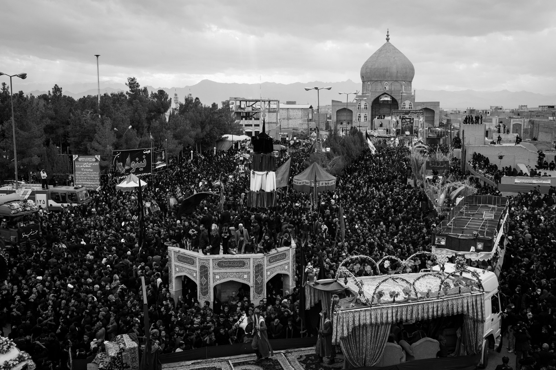 The main square of Zarach, where people from all over the area rally to celebrate Ashura. For this day, because it is a mourning day, everyone is dressed in black.