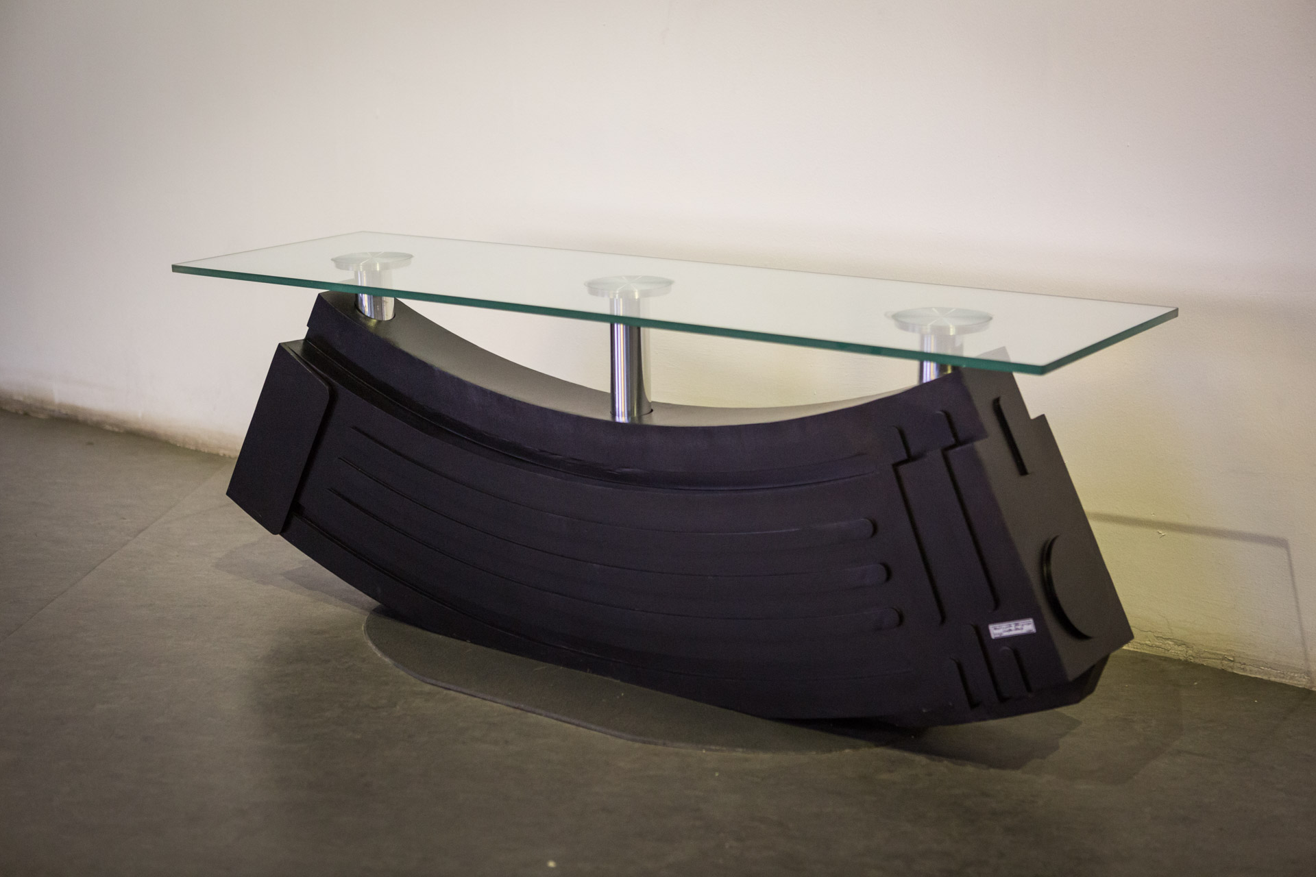 The Iranian government spent a lot of money to hire interior designers and museum artist for the country's major touristic landmark in the capital. Here, a table was designed in the shape of an AK-47 rifle magazine.