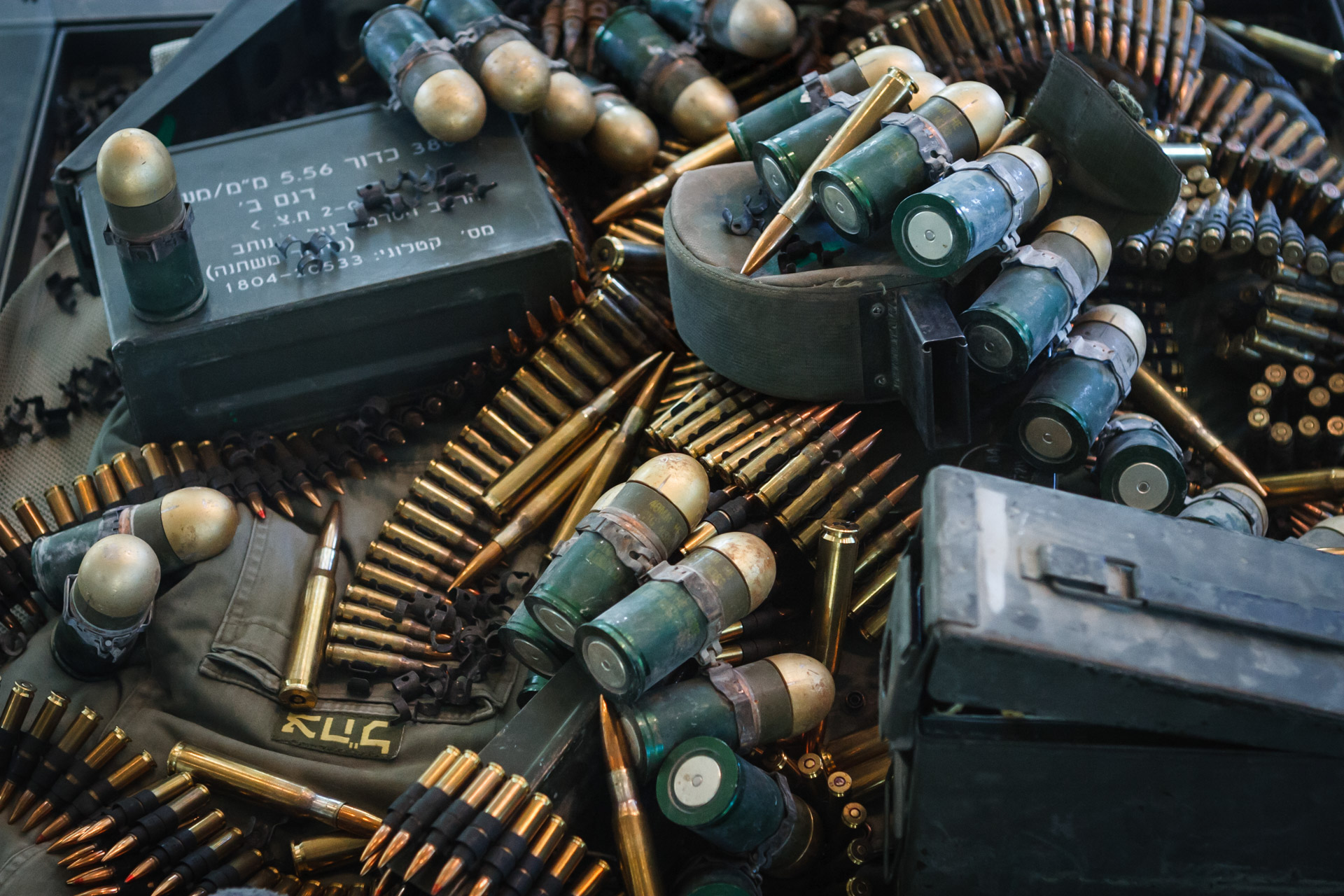 Ammunition collected from the 2006 July war with Israel is on display in the museum hall.